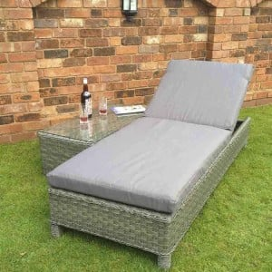 Signature Weave Garden Furniture Sarena Triple Weave Grey Sunbeds and Side Table Set