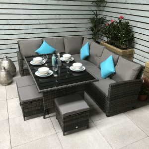 Signature Weave Charlotte Corner Dining Sofa Set In Grey