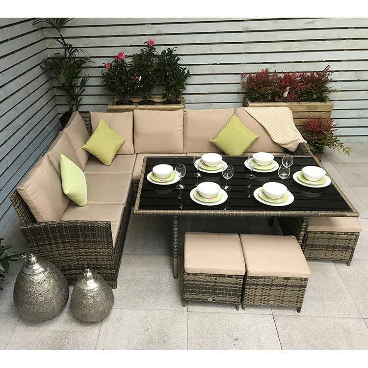 Signature Weave Charlotte Corner Dining Sofa Set In Nature Brown