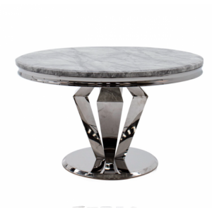 Vida Living Arturo Grey Marble and Chrome 130cm Round Dining Table