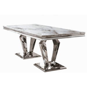 Vida Living Arturo Grey Marble and Chrome 180cm Dining Table - PRE ORDER