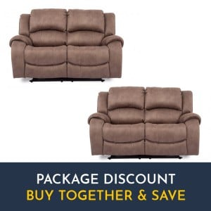 Vida Living Darwin Biscuit 2 Seater Recliner Sofa Set x 2