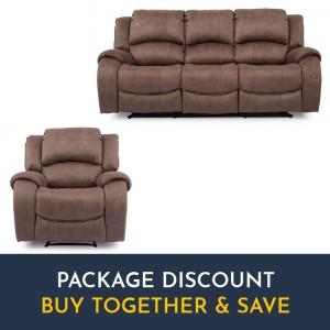 Vida Living Darwin Biscuit 3 Seater Recliner Sofa & Armchair Set