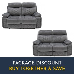 Vida Living Eason Grey 2 Seater Recliner Sofa Set x 2