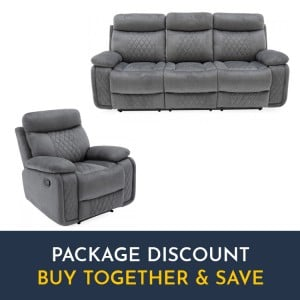 Vida Living Eason Grey 3 Seater Recliner Sofa & Armchair Set
