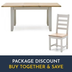 Vida Living Ferndale Grey Painted Furniture Extending Dining Table and Ladder Back Chairs Set