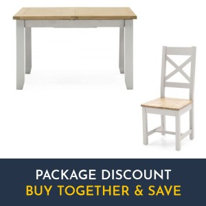 Vida Living Ferndale Grey Painted Furniture Fixed Dining Table and Cross Back Chairs Set