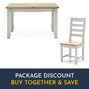 Vida Living Ferndale Grey Painted Furniture Fixed Dining Table and Ladder Back Chairs Set