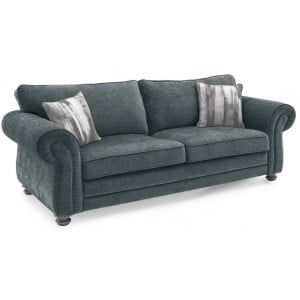 Vida Living Hollins Charcoal Fixed 3 Seater Sofa