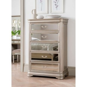 Vida Living Jessica Mirrored 5 Drawer Tall Chest of Drawers