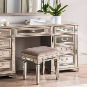 Vida Living Jessica Mirrored Dressing Table Stool