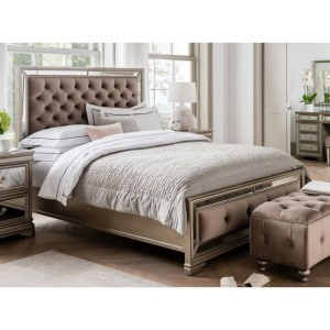 Vida Living Jessica Taupe Velvet and Mirrored 5ft Bed
