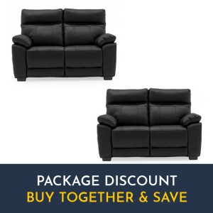 Vida Living Positano Black 2 Seater Fixed Sofa Set x 2