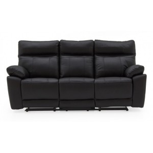 Vida Living Positano Black 3 Seater Recliner Sofa