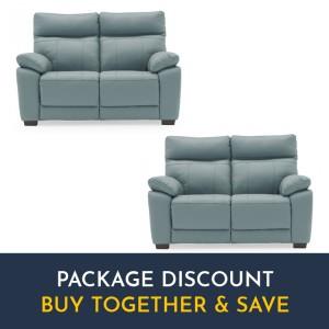 Vida Living Positano Blue 2 Seater Fixed Sofa Set x 2