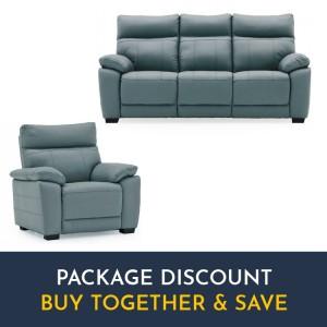 Vida Living Positano Blue 3 Seater Fixed Sofa & Armchair Set