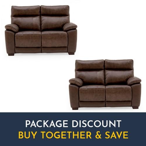 Vida Living Positano Brown 2 Seater Fixed Sofa Set x 2