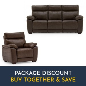 Vida Living Positano Brown 3 Seater Fixed Sofa & Armchair Set