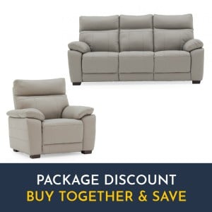 Vida Living Positano Light Grey 3 Seater Fixed Sofa & Armchair Set