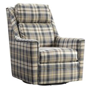 Vida Living Canterbury Oxford Check Swivel Chair