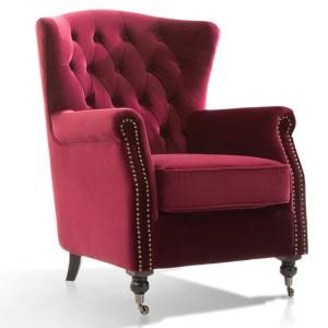Vida Living Darby Wingback Chair In Berry Velvet