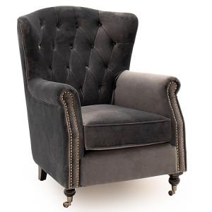 Vida Living Darby Wingback Chair In Grey Velvet