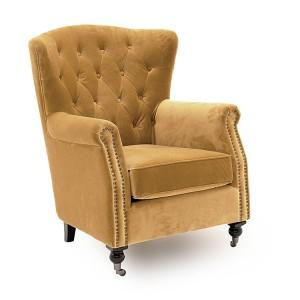 Vida Living Darby Wingback Chair In Mustard Yellow Velvet