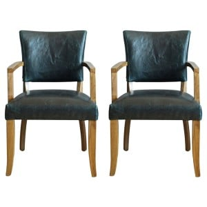Vida Living Duke Ink Blue Leather Arm Chair Pair