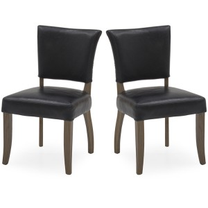 Vida Living Duke Ink Blue Leather Dining Chair Pair