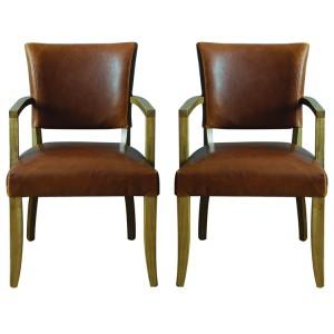 Vida Living Duke Tan Brown Leather Arm Chair Pair