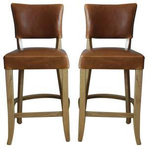 Vida Living Duke Tan Brown Leather Bar Chair Pair