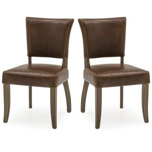 Vida Living Duke Tan Brown Leather Dining Chair Pair
