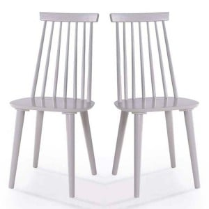 Vida Living Isla Spindle Grey Dining Chair Pair
