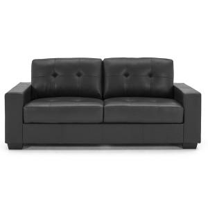 Vida Living Furniture Gemona Black Faux Leather 3 Seater Sofa