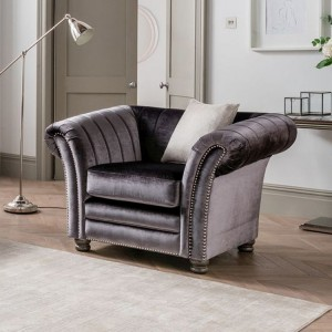 Vida Living Giselle Charcoal 1 Seater Armchair