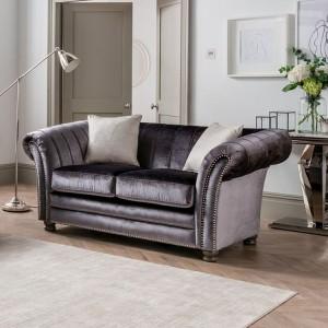 Vida Living Furniture Giselle Charcoal Velvet 2 Seater Sofa with 2 Scatter Cushions
