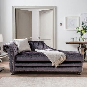 Vida Living Giselle Charcoal Velvet Fabric Chaise Sofa with Scatter Cushion