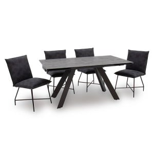Vida Living Flavia Metal & Glass 160-240cm Extending Dining Table