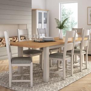 Vida Living Amberly Grey Painted & Oak 120-160cm Extending Dining Table
