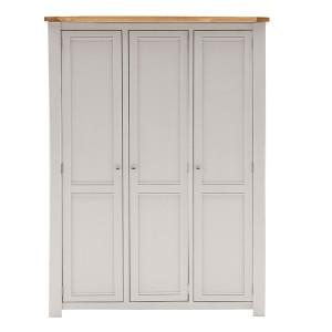 Vida Living Amberly Painted & Oak 3 Door Wardrobe