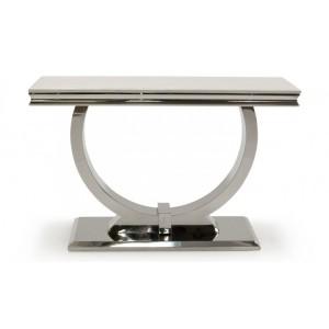 Vida Living Arianna Cream Marble Console Table with Chrome