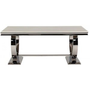 Vida Living Arianna Cream Marble Dining Table with Chrome 180cm