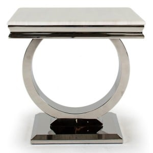 Vida Living Arianna Cream Marble Lamp Table with Chrome