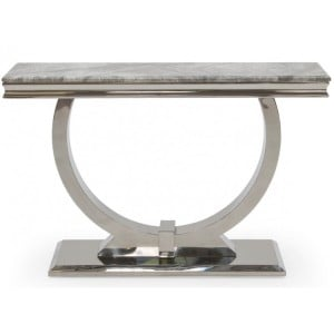 Vida Living Arianna Grey Marble Console Table with Chrome