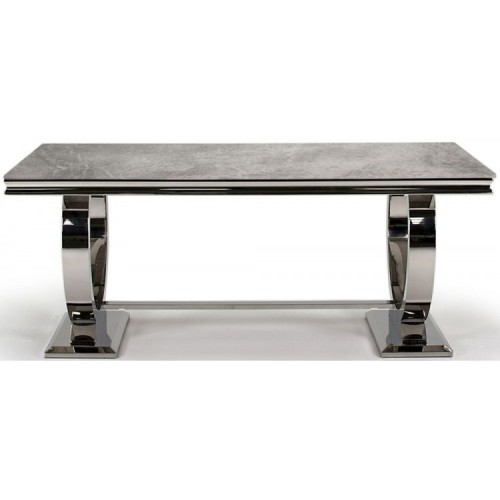 Vida Living Arianna Grey Marble Dining Table with Chrome 180cm
