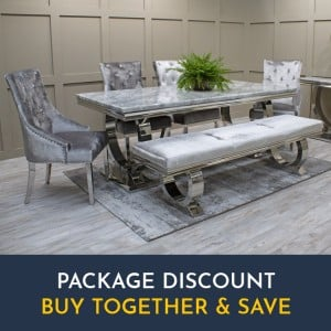 Vida Living Arianna Grey Marble Table 180cm with 4 Chairs & Bench