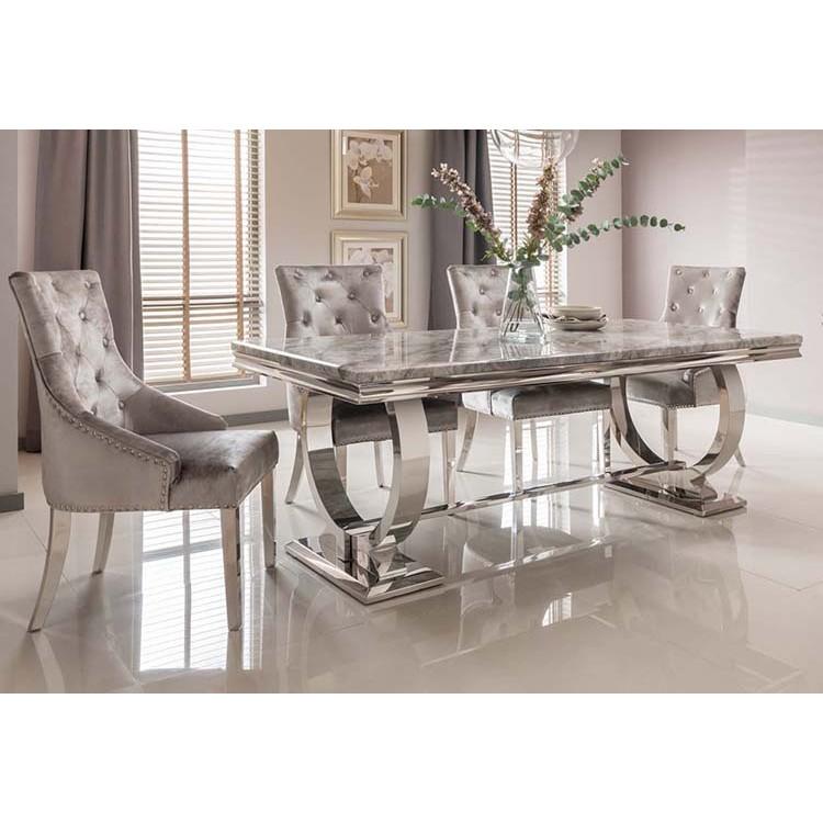 Vida Living Arianna Grey Marble Chrome 180cm Rectangular Dining Table Fusion Furniture Store