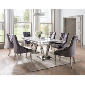 Vida Living Arturo Grey Marble and Chrome 180cm Dining Table
