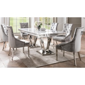 Vida Living Arturo Grey Marble and Chrome 200cm Dining Table