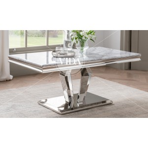 Vida Living Arturo Grey Marble and Chrome Coffee Table